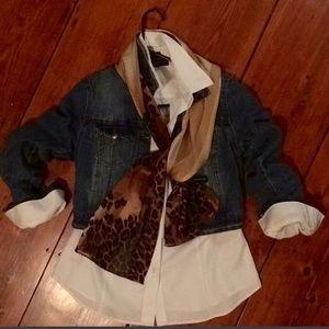 Jones New York 100% silk leopard & stripe scarf